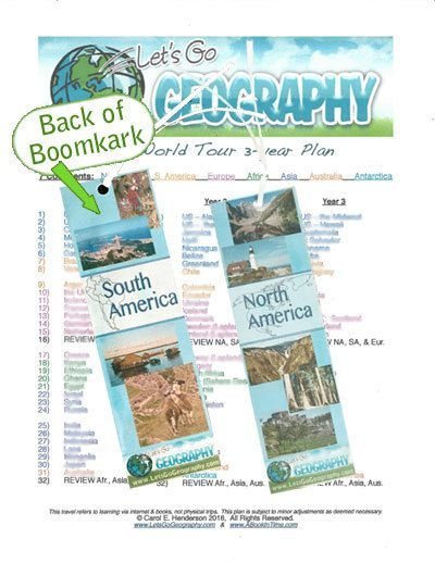 Free Continent Bookmark and Homeschool Geography Itinerary