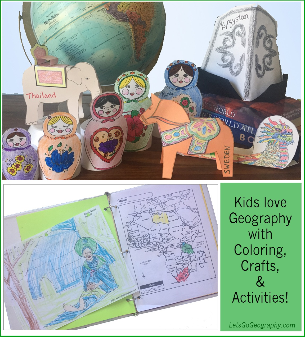 Get the best homeschool Geography Curriculum for K-5th grades! Kids learn a new country every week with coloring, crafts, & activities. No more boring worksheets! Share with friends! #homeschoolgeographyelementary #homeschoolgeographycurriculum #homeschoolgeographylessonplans #homeschoolgeographychildren #homeschoolgeography #makinggeographyfun