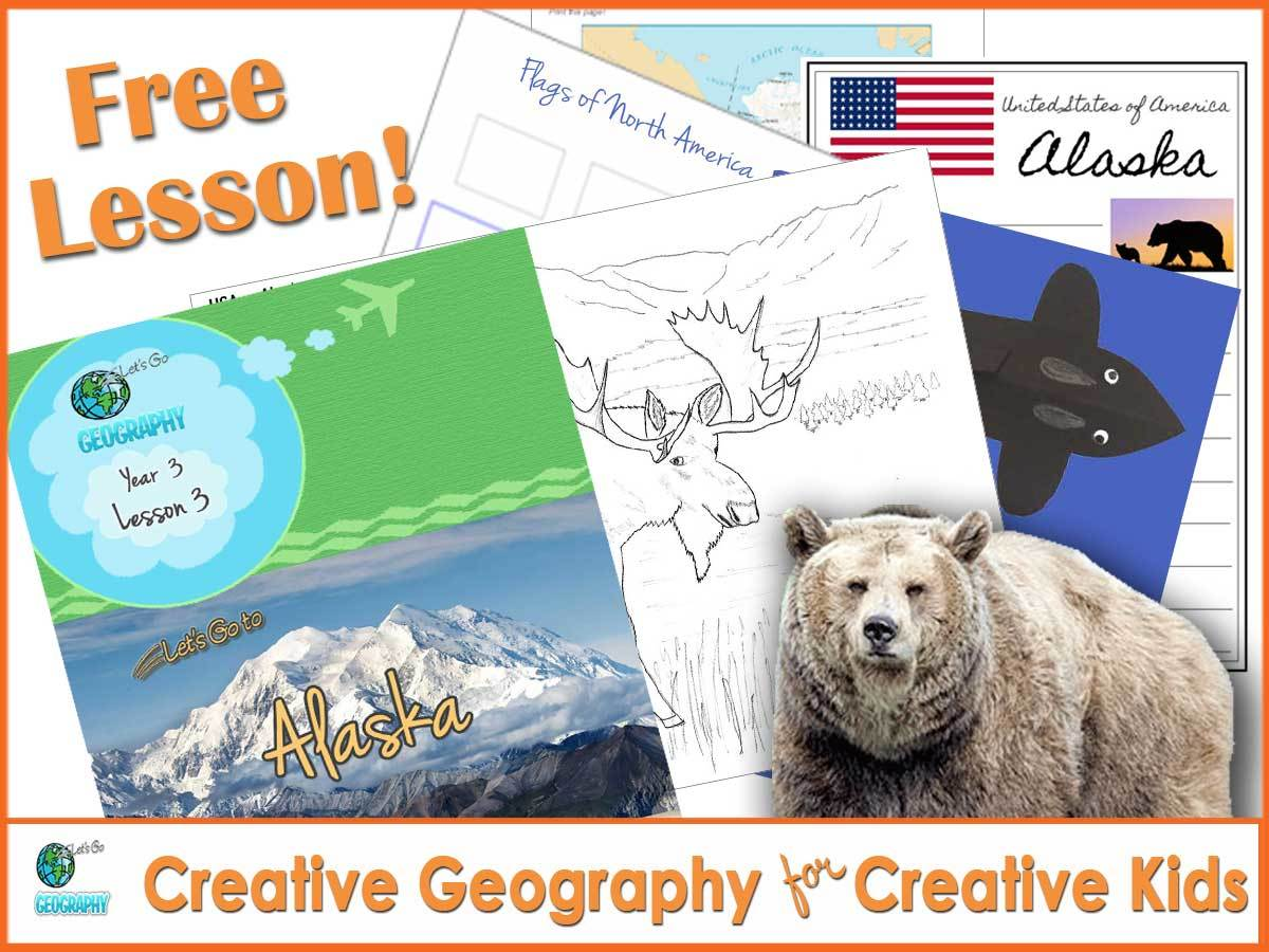 This FREE unit from Let's Go Geography shows kids the best of Alaska with creative activities. Watch video, listen to music, make crafts. It's all here...and it's free! Share this Pin with friends! #homeschoolgeographycurriculum #homeschoolgeography #letsgogeography #geographyforkids #alaskaforkids #freeactivitiesforkids #freeactivitiesforkidsathome #freeactivityprintablesforkids