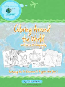 Kids can color around the world with the themed coloring pages from Year 1 of Let's Go Geography. Tour the globe by coloring, with stops on every continent except Antarctica (that's in Year 3!). #letsgogeography #makegeographyfun