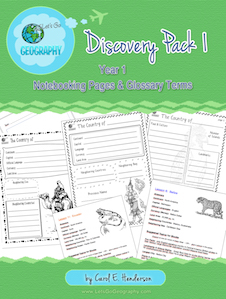 Kids love to write about geography with Notebooking Pages that complement each lesson from Let's Go Geography. The Discovery Pack also comes with a Printable Glossary page and list of all geography terms for every lesson. Grades 3-5; 97 pages. #letsgogeography #geographyforkids #homeschoolgeography