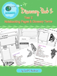 Kids love to write about geography with Notebooking Pages that complement each lesson from Let's Go Geography. The Discovery Pack also comes with a Printable Glossary page and list of all geography terms for every lesson. Grades 3-5; 105 pages. #letsgogeography #geographyforkids #homeschoolgeography