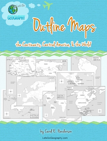 Get Outline Continent Maps with & without labels from Let's Go Geography. Every inhabited continent PLUS extras. Share this with friends! #letsgogeography #outlinemaps #printableoutlinemaps #printablemaps