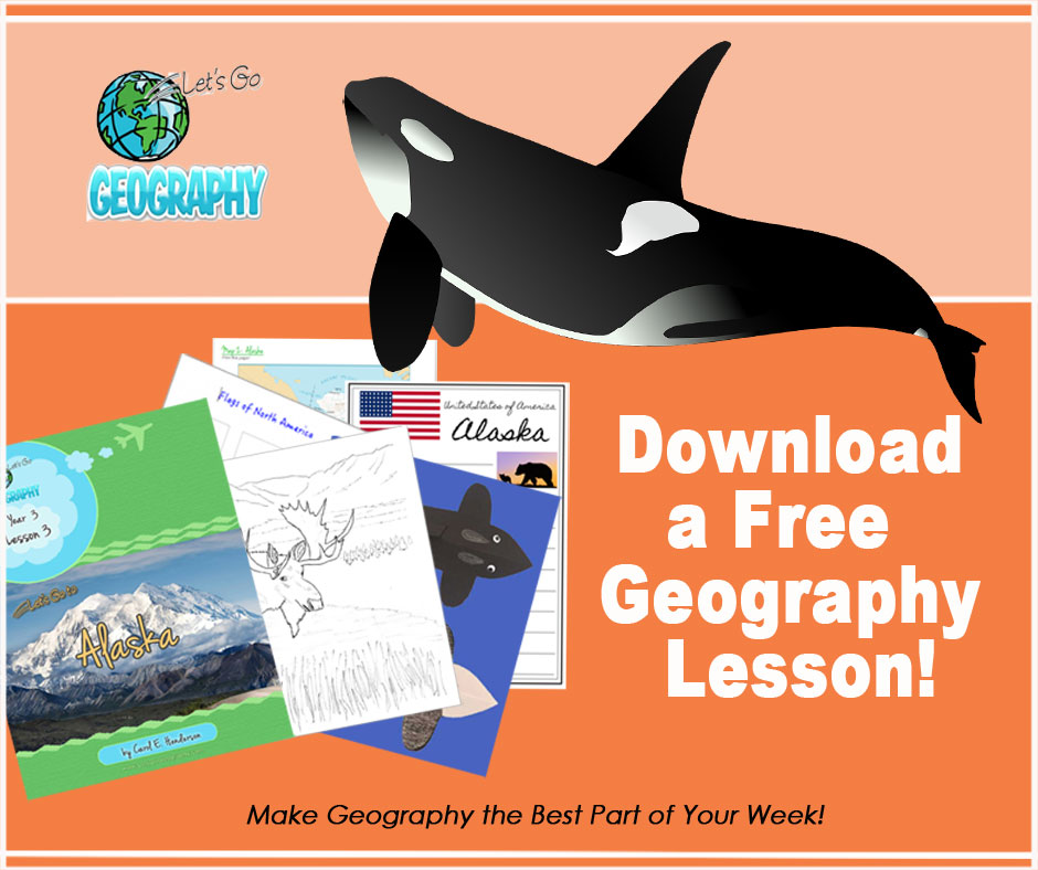 Get a FREE Geography Lesson on Alaska for kids!  Creative geography means you watch video, listen to music, make crafts.  It's all here.  Share with friends!  #homeschoolgeographycurriculum #homeschoolgeography #letsgogeography #geographyforkids #alaskaforkids #freeactivitiesforkids #freeactivitiesforkidsathome #freeactivityprintablesforkids
