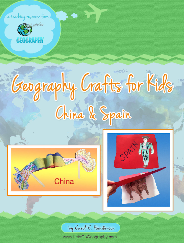 Sample 2 country-themed kids geography crafts crafts from Let's Go Geography. The kids craft for China is a dragon. The kids craft for Spain is a matador's cape with a bull. Share with friends! #letsgogeography