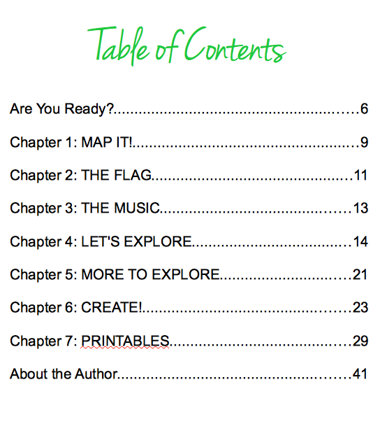 Let's Go Geography Lesson, Table of Contents